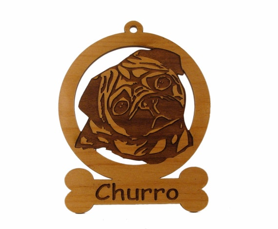 Pug Head Ornament 083760 Personalized With Your Dog's Name