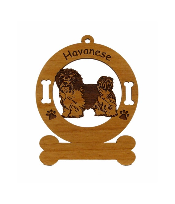 3346 Havanese Standing 2 Dog Ornament Personalized With Your Dog's Name