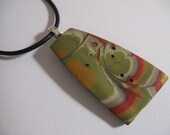 Pendant made from Polymer Clay in Mokume Gane Style - Gold, Olive, Orange, Cream, Silver