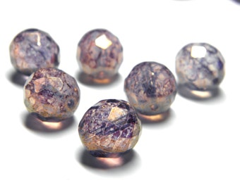 Sale! - Czech Glass Stone Beads (6) Round 12mm Faceted Purple Amethyst with Picasso