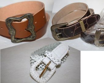1980s belts Sale 50% off, 4 Vintage 80s BELTS LOT,1980s Belts, all 4 belts for one price,