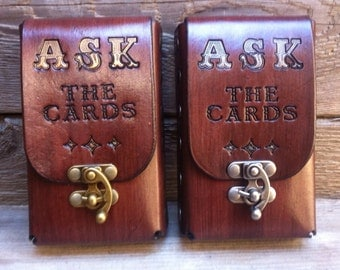 ASK The Cards...Mahogany Leather Tarot Deck Cards Pouch Case Holder