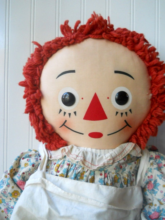 RESERVED FOR PAULETTE E. Vintage Knickerbocker Raggedy Ann large 32 inch Classic toy cloth doll
