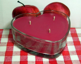 Macintosh Apple PURE SOY  Heart Container Candle (1 pound of wax)