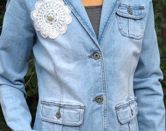 Womens Upcycled Denim Jacket Blazer Vintage Blue Jeans Casual Business Shabby Cottage Chic