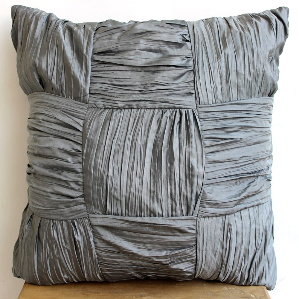 Grey Throw Pillows Cover For Couch Square Checkered Crushed