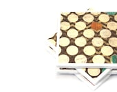 Tile Coasters - Brown and Beige Polka Dots - Set of 4 Coasters