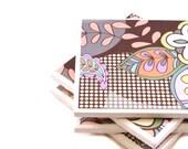 Tile Coasters -  Retro Floral Pop - Set of 4 (Gray, Brown, Peach)