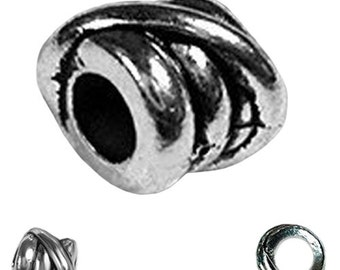 MERZIEs 3 tibetan silver 8x9mm spacer European charm chain 3.8mm large hole metal beads - Combined Shipping