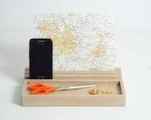 Beech wood desk organiser, Wood iPad Stand, phone stand