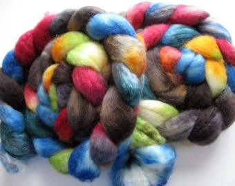 Neon tie-dye - Superwash BFL Wool Roving (Top) - Handpainted Spinning or Felting Fiber - 4 ounces