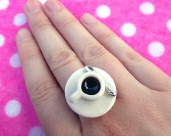 Coffee Addict Adjustable Ring