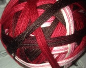 Valentines day self striping sock yarn in box of chocolates  dyed to order just for you