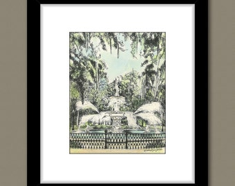 Savannah Forsyth Park Fountain - Hand Watercolored Print
