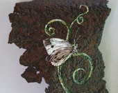 Acrylic Painting Butterfly - Original on Rusted Metal - Reclaimed Chair Art - Rustic Art - Vintage Painting