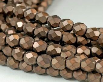 25 Czech faceted rounds 6mm - matte Dark Bronze - fire polished, bronze, chocolate brown metallic, Czech glass beads F27