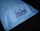 ON SALE Andrew Personalized Travel Pillow Case - Fits 12in X 16in Pillow Insert