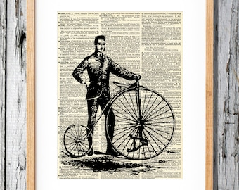 Bicycle 4 Print - Penny Farthing- Art Print on Vintage Antique Dictionary Paper - Retro Farther
