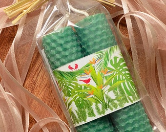 Beeswax Candle Forest Mini Taper Pair Party Favor Earth Day Green Eco Friendly Hawaiian Rainforest Handmade in Hawaii Green Gift Healthy