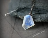 Monolith - Polygonal Moonstone Wire Wrapped Sterling Silver Necklace