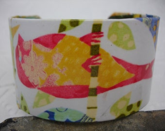 Colorful Bird Cuff Decoupage Cuff Bracelet