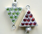 Clasp, STERLING, SILVER, GARNET, Or Peridot,  Box, Clasp, Closure, Gemstone, Triangle, Cabochon, 2 Sided, Now 25 % off