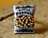 Miniature Bag of Roasted Peanuts Adjustable Ring - Take me out to the ball park