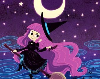 Midnight Ride cute witch art print 8x10