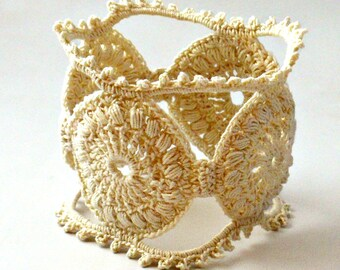 Crochet Bracelet Fiber Bracelet  Irish Lace Cuff Medallion Fine Thread Bangle Beige