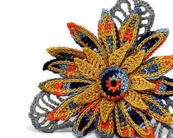 Crochet Brooch Fiber Brooch Flower Pin Irish Crochet Pin Daisy Brooch Orange Black Gray Grey Crochet Flower Pin Crochet Flower Brooch