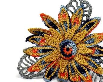 Crochet Brooch Fiber Brooch Flower Pin Irish Crochet Pin Daisy Brooch Orange Black Gray Grey Crochet Flower Pin Crochet Flower Brooch