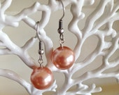 Large Peach Shell Pearl Earrings