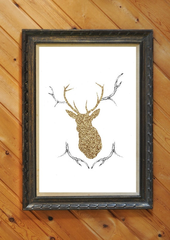 Woodland and Antlers Gold Glitter Home Decor Wall Art, 8x10 Gold Glitter A4 Print Illustrated Deer Silhouette Head Print