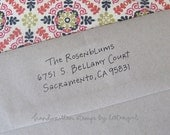 Colette Handwritten Address Stamp:   your choice of self-inking or red rubber
