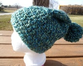 SALE - Super soft Green/Teal Crocheted Slouch Hat