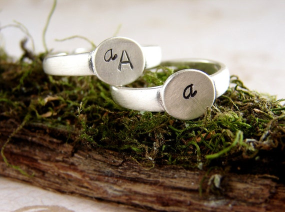 initial ring, pinky ring, stackable ring, personalized jewelry, signet ring, sterling silver signet customize initial