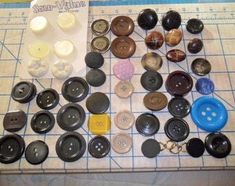 OLD Vintage Button lot - Coat buttons - at least 45 plus