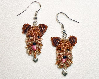 AIREDALE LOVE beaded sterling silver terrier dangly dog earrings/ Ready to Ship