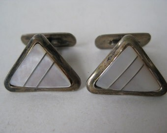 Silver Mother of Pearl Cuff Links Vintage