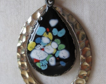 Copper Enamel Necklace Black Blue Teardrop Vintage Pendant Dangle