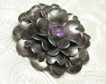 Vintage Sterling Hobe Brooch Forties Retro Jewelry Large Flower P5454