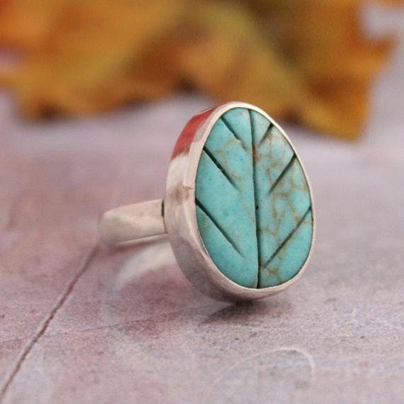 Turquoise Ring - Leaf ring - Artisan Ring - Green ring - Bezel ring - Gemstone Ring - Designer ring - Gift for her