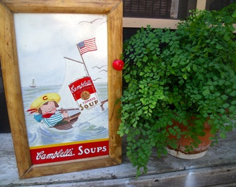 """WaLL CABINET tin sign  """" Campbell's Soups""""- Campbell Kid Sailing with Tomato Soup---wonderful spice cabinet cupboard-aWeSoMe"""
