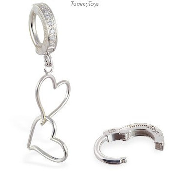 Double Heart Silver Charm on Sparkling Pave Belly Button Ring Clasp By TummyToys (62011)