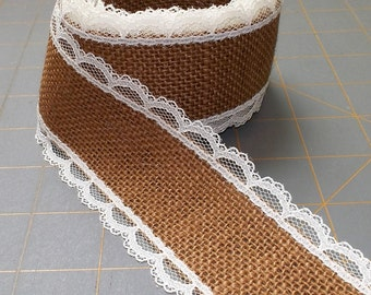 ONLY 2 LEFT! Terracotta Burlap Ribbon with Ivory Lace - 2 inch x 3  yards