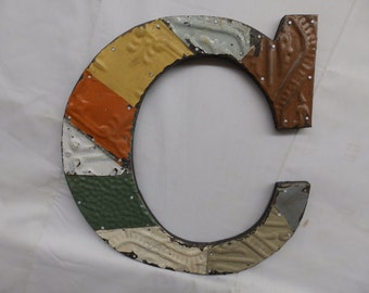 "Tin Ceiling Wrapped 12"" Letter C Patchwork Reclaimed Metal Mosaic Wall Hanging S2038-14"