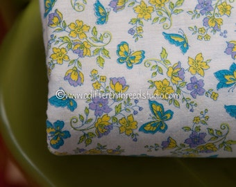 Butterflies in the Garden-  Vintage Fabric Novelty Mod 50s 60s 36 in wide