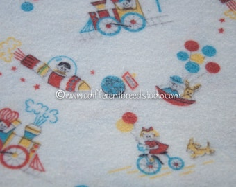 Cute Transporation - Vintage Fabric Juvenile Novelty Flannel Juvenile 60s