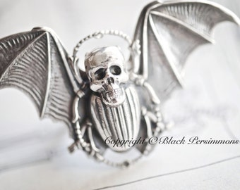 BeetleJuice Bat w/ Skull Ring - SOLDERED - Made in USA Antique Sterling Silver Brass