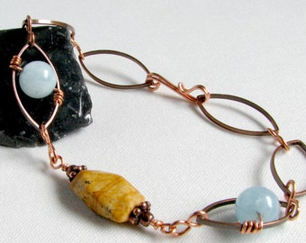 Aquamarine Copper Bracelet Brown Picture Jasper Copper Blue Stone Brown Stone 8 inches MARCH SALE Was 25.00